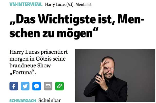 Harry Lucas - Interview VN Vorarlberger Nachrichten Foto Screenshot